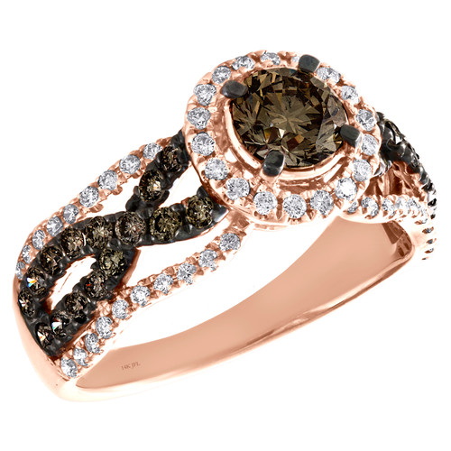 14K Rose Gold 3/4 Ct Solitaire Brown Diamond Infinity Engagement Ring 1.50 TCW.