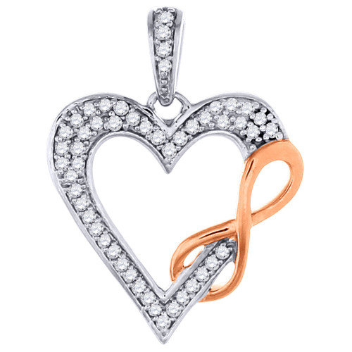 Round Cut Charm Diamond Heart Infinity Pendant Ladies 10K White Gold 0.12 Ct.