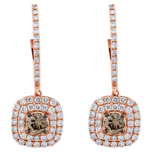 14K Rose Gold Brown Solitaire Diamond Square Halo Dangler Hoop Earrings 2.33 CT.