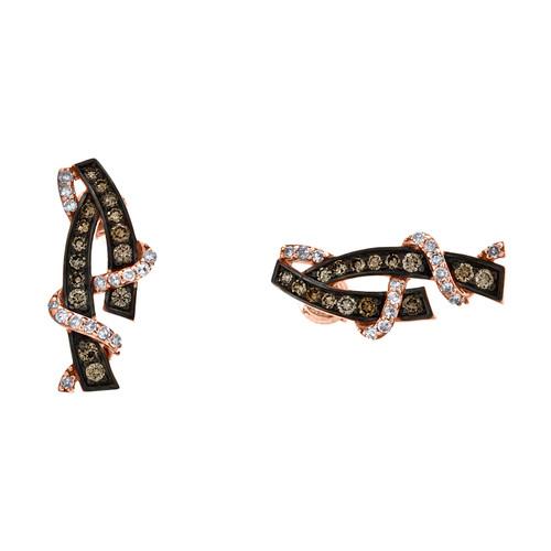 10K Rose Gold Brown Diamond Bypass / Swirling Ribbon Dangler Earrings 1/2 CT.