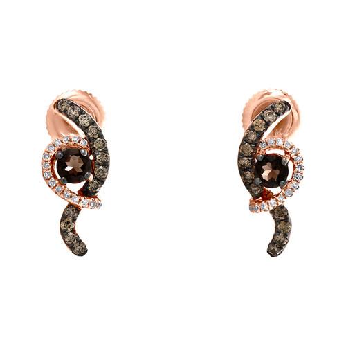 10K Rose Gold Smoky Quartz & Diamond Swirl Journey Dangler Earrings 0.66 TCW.