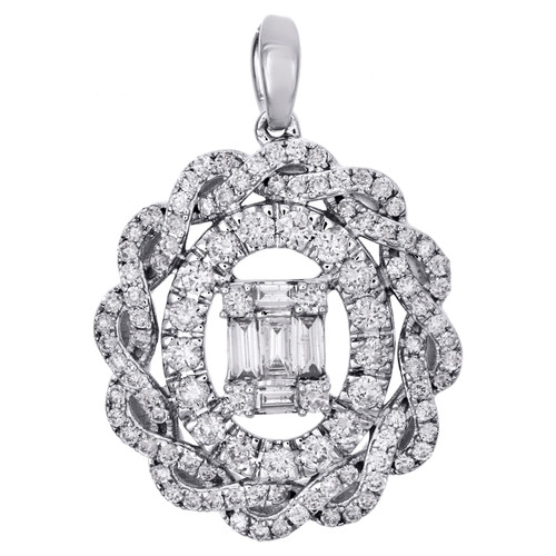 14K White Gold Baguette Diamond Braided Halo Oval Statement Pendant 1 CT.
