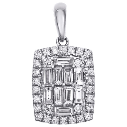 14K White Gold Round & Baguette Diamond Rounded Rectangle Halo Pendant 1/2 CT.