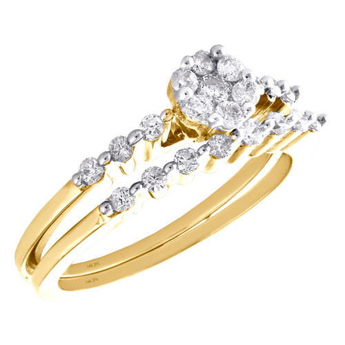 14K Yellow Gold Diamond Flower Engagement + Wedding Rings Bridal Set 1/2 CT.