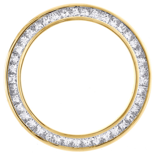 Solid Gold Princess Cut Diamond Bezel Fits 26mm Rolex DateJust President 2.05 CT