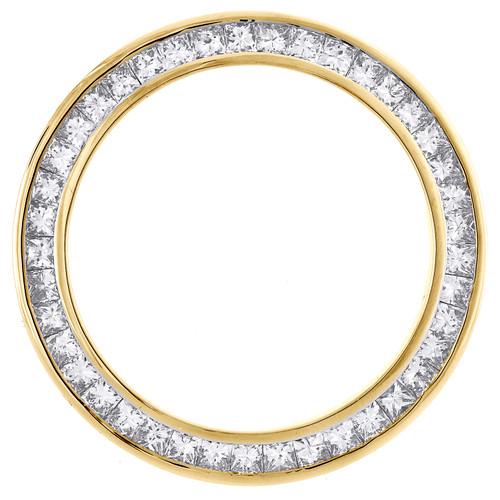 Solid Gold Princess Cut Diamond Bezel Fits 26mm Rolex DateJust President 2.05 CT