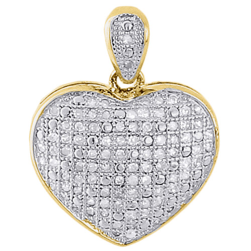 "925 Sterling Silver Ladies Diamond Heart Domed Puff Pendant 18"" Chain Set .33 Ct"