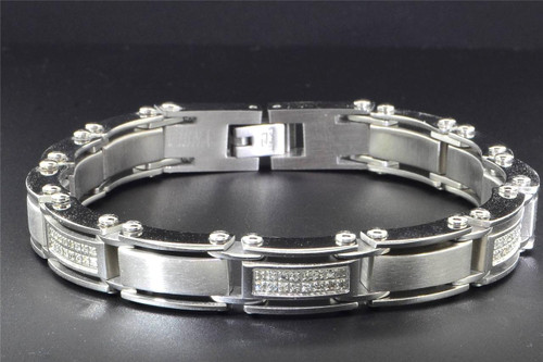 Mens Diamond Bracelet Stainless Steel High Polished 2 Row Fancy Links 8.5""