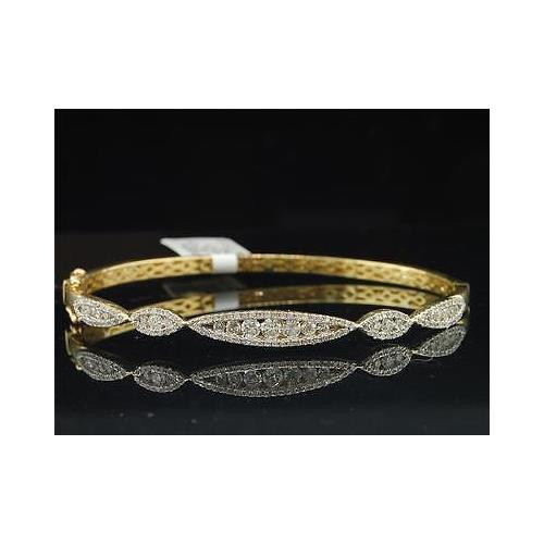 Ladies 10K Yellow Gold 1.05 ct. Channel Round Diamond Designer Bangle Bracelet