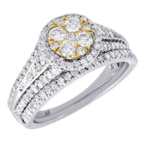 Diamond Flower Engagement Wedding Ring 14K White Gold Round Cut Bridal Set 1 Tcw