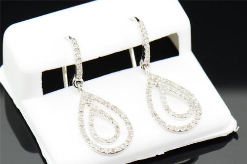 Ladies 10K White Gold Diamond Tear Drop Dangle Hoops Earrings 0.52 Ct.