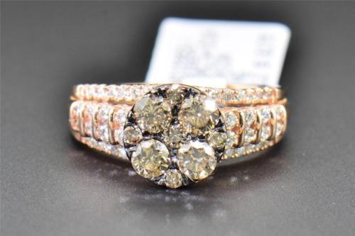 Brown Diamond Bridal Set 14K Rose Gold Engagement Ring Wedding Band 1.50 CT