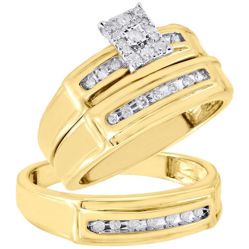 Diamond Trio Set 10K Yellow Gold Ladies Engagement Ring Mens Wedding Band 1/4 CT.