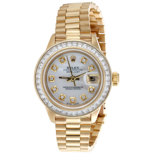 Rolex DateJust President Princess Cut Diamond Watch 18K Gold 26mm MOP Dial 2 CT.