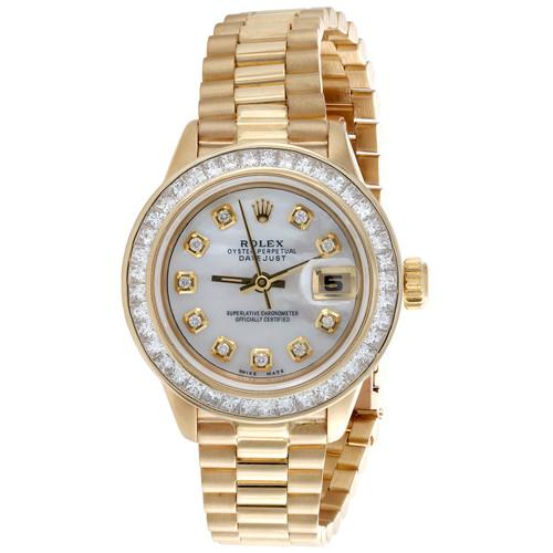 Rolex DateJust President Princess Cut Diamond Watch 18K Gold 26mm MOP Dial 2 CT.