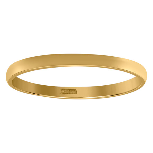 10K Yellow Gold Unisex Solid Plain Regular Fit 2mm Wedding Band Sizes 5 - 13