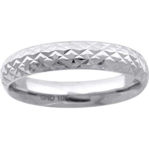 10K White Gold Unisex Diamond Cut Wedding Band Comfort Fit 5mm Size 7 - 13