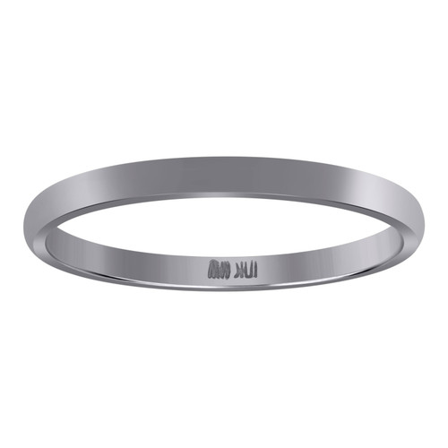 10K White Gold Unisex Solid Plain Comfort Fit 2mm Wedding Band Sizes 5 - 13
