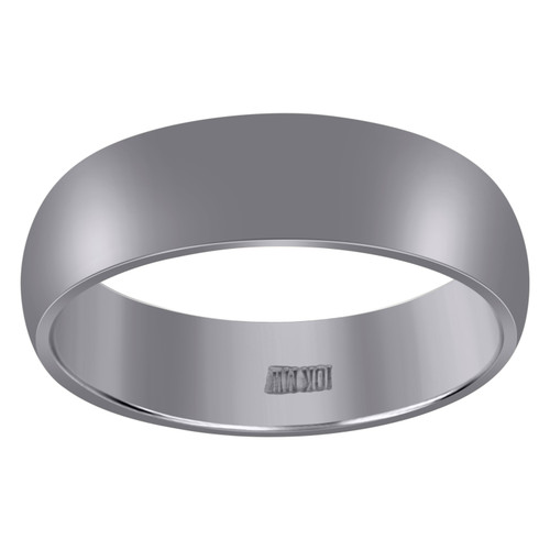 10K White Gold Unisex Solid Plain Comfort Fit 6mm Wedding Band Sizes 6 - 13