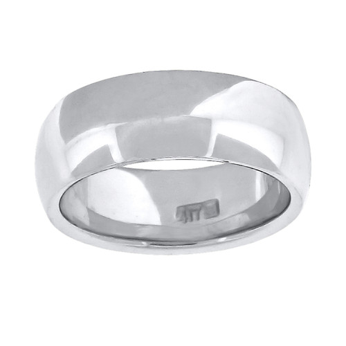 10K White Gold Unisex Solid Plain Comfort Fit 7mm Wedding Band Sizes 6 - 13