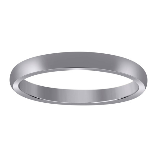 10K White Gold Unisex Hollow Plain Comfort Fit 3mm Wedding Band Sizes 5 - 13