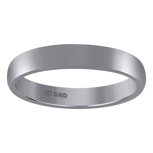 10K White Gold Unisex Hollow Plain Comfort Fit 4mm Wedding Band Sizes 5 - 13