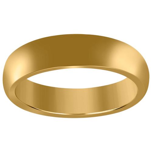 10K Yellow Gold Unisex Hollow Plain Comfort Fit 6mm Wedding Band Sizes 5 - 13