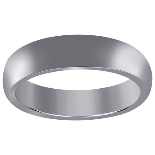 10K White Gold Unisex Hollow Plain Comfort Fit 6mm Wedding Band Sizes 6 - 13