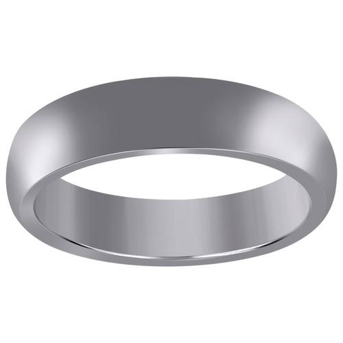 10K White Gold Unisex Hollow Plain Comfort Fit 6mm Wedding Band Sizes 6 - 13