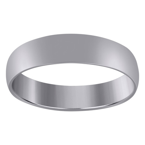10K White Gold Unisex Solid Plain Regular Fit 5mm Wedding Band Sizes 5 - 14