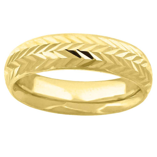 10K Yellow Gold Unisex Diamond Cut Wedding Band Comfort Fit 6mm Size 7 - 13