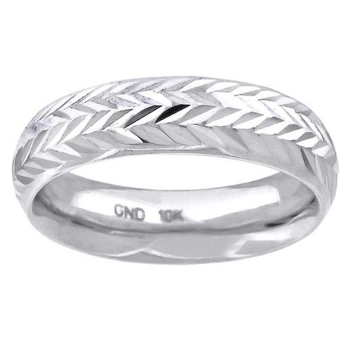 10K White Gold Unisex Diamond Cut Wedding Band Comfort Fit 6mm Size 7 - 13