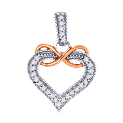 10K White Gold Diamond Heart Infinity Pendant Ladies Round Cut Charm 0.15 Ct.