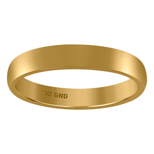 10K Yellow Gold Unisex Hollow Plain Comfort Fit 4mm Wedding Band Sizes 5 - 13