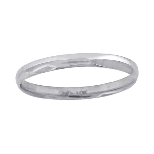 10K White Gold Unisex Hollow Plain Comfort Fit 2mm Wedding Band Sizes 4.5 - 13