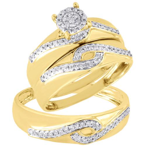 Diamond Trio Set 10K Yellow Gold Ladies Engagement Ring Mens Wedding Band 1/3 CT