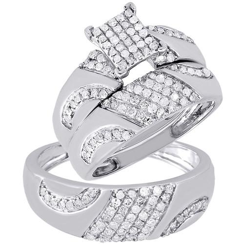 Diamond Trio Set 10K White Gold Ladies Engagement Ring Mens Wedding Band 3/4 CT.