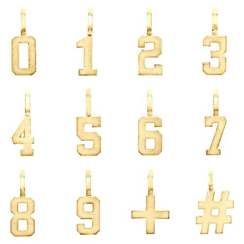 10K Yellow Gold Mini Number # Pendant Block Font Charm Hashtag Plus Sign 0 to 9