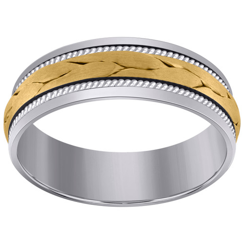 14K Two Tone Gold Unisex Woven Cord Center & Milgrain 7mm Wedding Band Sz 9 - 13