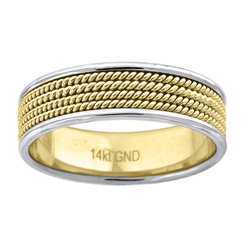 14K Two Tone Gold Men's Quad Rope Milgrain Design 6.5mm Wedding Band Size 9 - 13