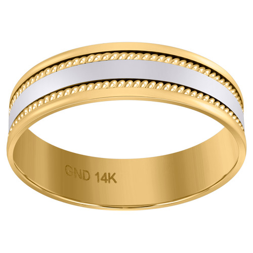 14K Two Tone Gold Men's Polished Center w/ Milgrain 6mm Wedding Band Size 9 - 13