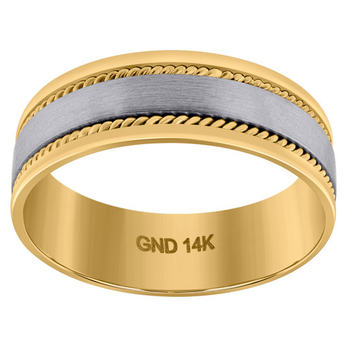 14K Two Tone Gold Men's Brushed Center Rope Milgrain 7mm Wedding Band Sz 9 - 13