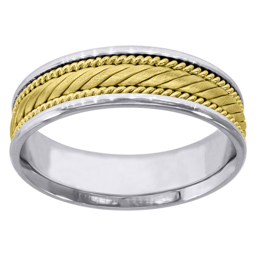 14K Two Tone Gold Men's Braided Rope & Milgrain 6mm Wedding Band Sizes 9 - 13