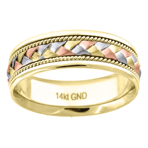 14K Tri Color Gold Men's Woven Cord Design Center 7mm Wedding Band Sizes 9 - 13