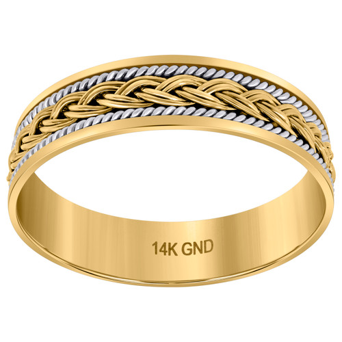 14K Two Tone Gold Men's Wheat Braided Rope Center 6.5mm Wedding Band Sz 9 - 13