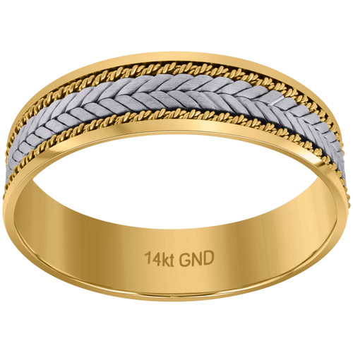 14K Two Tone Gold Men's Braided & Rope Milgrain 6.5mm Wedding Band Sz 9 - 13