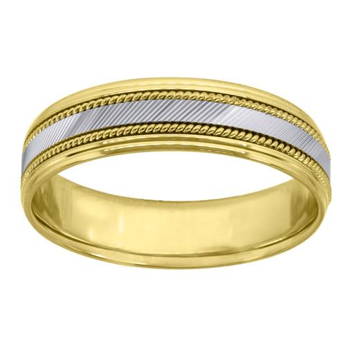 14K Two Tone Gold Men's Diamond Cut & Milgrain 6.5mm Wedding Band Size 9 - 13