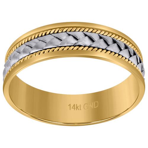14K Two Tone Gold Unisex Woven Cord & Milgrain 6.5mm Wedding Band Size 9 - 13