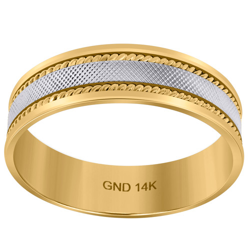 14K Two Tone Gold Men's Textured Center Rope Milgrain 6mm Wedding Band Sz 9 - 13