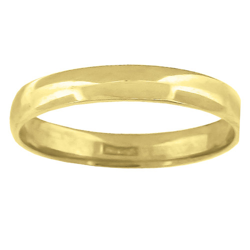 14K Yellow Gold Unisex Solid Domed Regular Fit 3mm Wedding Band Sizes 5 to 13